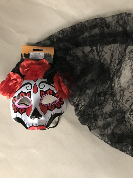 Tesco Day of the dead mask with veil